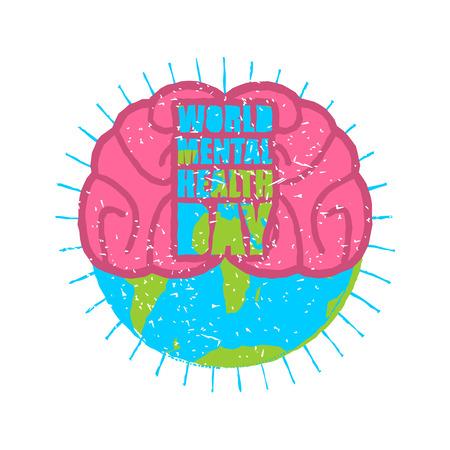 Día Mundial de la Salud Mental. Cerebro y tierra. Estilo del Grunge. Cepillo y salpicaduras.