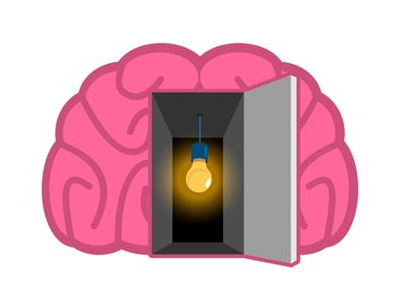 Brain with light bulb Open door. concept of mind illumination. Psychology illustration