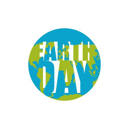 globe logo: Earth Day. Planet and silhouette of letters. Festive Lettering. International Nature holiday Illustration