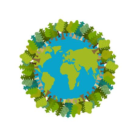 Trees and Earth. Planet and forest. Earthly nature. Earth Day International Nature Festival Ilustrace