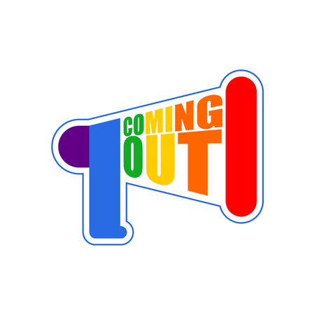 sexuality: Coming out LGBT sign message. Rainbow megaphone Icon social network. Symbol Recognition of belonging to sexual or gender minority. Lesbians and gays