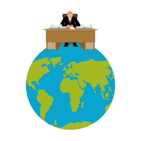 President van de wereld. Big Boss Planet Earth. meester is zakenman. Directeur in functie. Chief Worker Stock Illustratie