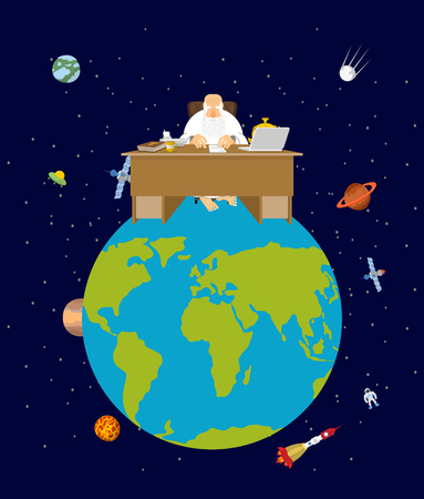 God is boss earth. director and Desktop. Planet earth in space. Stars and planets
