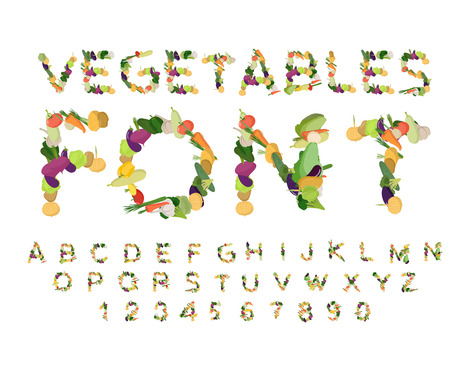 Vegetarian font. Alphabet of vegetables. Edible letters. Potatoes and carrots letters. Vegan ABC
