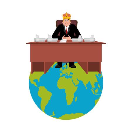 President van de wereld in kroon. Moderne Koning is een zakenman. Big Boss Planet Earth. Directeur op kantoor. Hoofdwerker Stock Illustratie