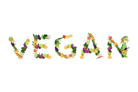 Vegan lettering. Letters of potatoes and peppers. Cabbage and beet. Vegetables Typography