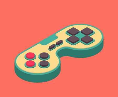 Joystick retro Isometry isolated. Gamepad Game console 8 bit. Retro Video game controller