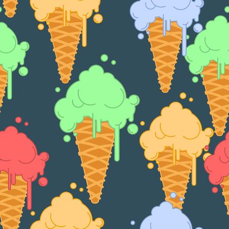アイス クリーム ワッフル コーンのシームレスなパターンで。冷たいデザートのテクスチャです。イチゴ、ピスタチオとバナナの味  イラスト・ベクター素材