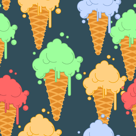 Ice cream in waffle cone seamless pattern. Cold dessert texture. Strawberry, pistachio and banana taste