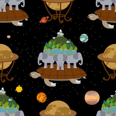 神話地球のシームレスなパターン。古い地図の背景。亀象を運ぶします。世界の古代表現。太陽系の惑星