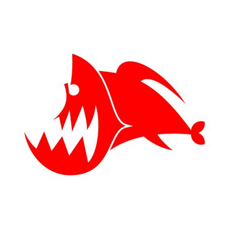 voracious: Piranhas logo sign. Marine Predator fish of Amazon. Toothed river animal