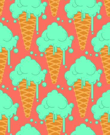 Pistachio ice cream in waffle cone seamless pattern. Cold dessert texture.