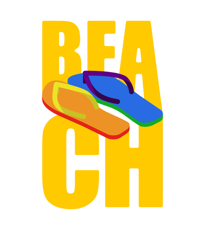 LGBT beach sign. slippers rainbow of color. Summer Shoes Gay and Lesbian Symbol Illustration