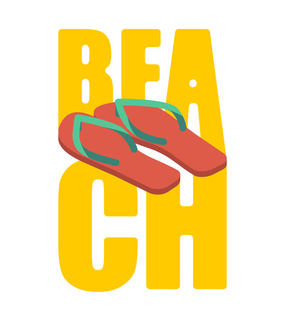 Beach and slippers. Summer shoes lettering. Sea Typography