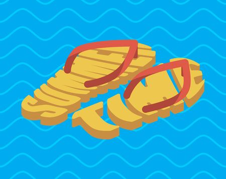 Summer time slippers lettering. Beach shoes typography