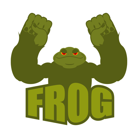Strong frog. powerful toad with large muscles. Amphibian animal athlete bodybuilder Illustration