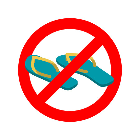 Stop slippers. Ban summer shoes. Red traffic sign not allowed Illustration
