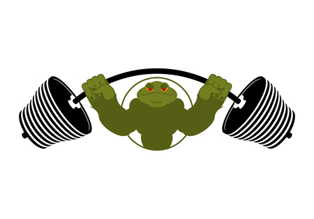 tough: Strong frog. powerful toad with large muscles. Amphibian animal athlete bodybuilder Illustration