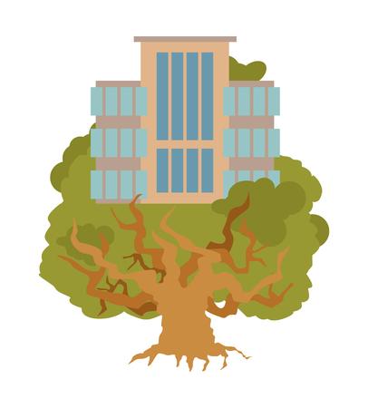 House on tree. Office Buildings on oak. Alligory New residential quarter