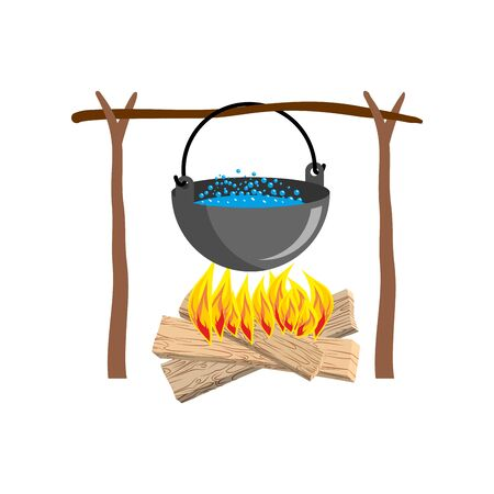 boiler: boiler with camping. Campfire place. boiler and firewood Illustration