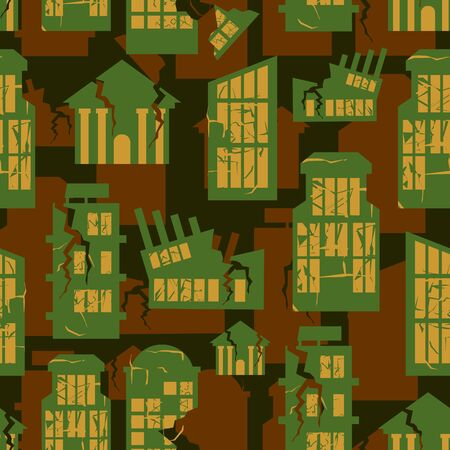 beige: destroyed Buildings seamless military pattern. city house khaki background. town Army protective ornament