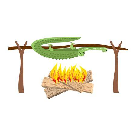 spit: Grilled Crocodile meat on spit. Roasting alligator. BBQ croc