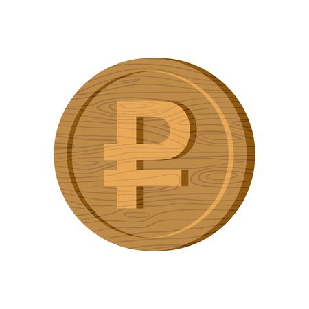 plywood: Wooden Russian ruble coin sign. National Russia money logo. Cash symbol