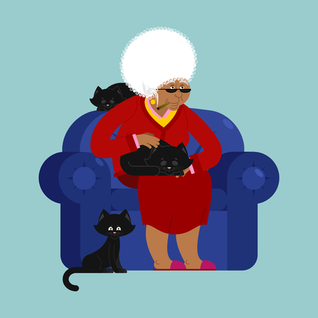 grey cat: African American Grandmother and cat sitting on a chair.
