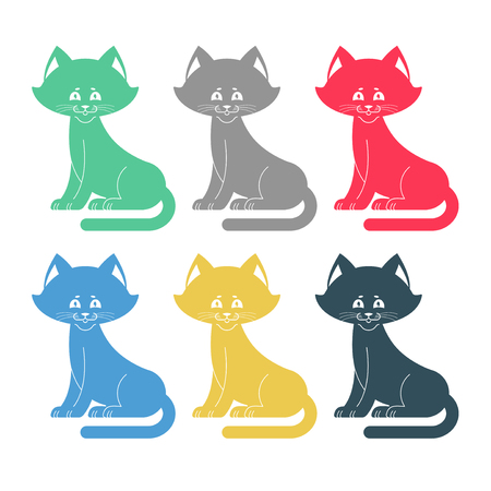Colored cats set icon. Multicolored pet collection.