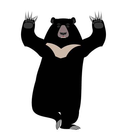 Himalayan Bear Yoga. yogi wild animal emoji. Black big beast Vetores