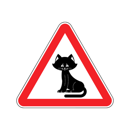 beware: Attention cat. Caution pet. Red triangle road sign