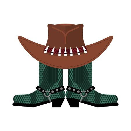 Australian hat and crocodile skin boots. Cowboy cap and python leather shoes. Western clothes and rodeo shoe