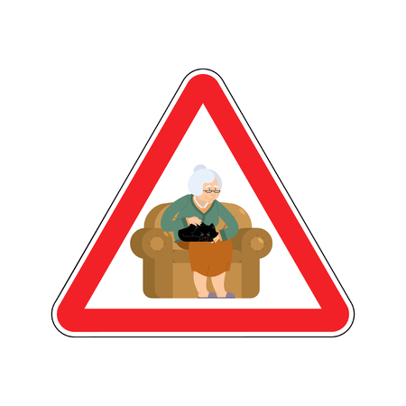 Attention grandmother. Caution old woman and cat. Red triangle road sign Illustration