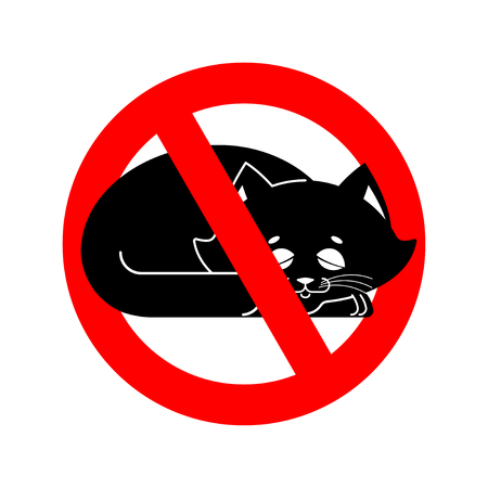 banned: No cats allowed the pet is forbidden. Red prohibitory road sign Illustration