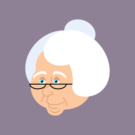 Grandmother portrait. Old woman face. crone isolated. gammer with glasses Иллюстрация