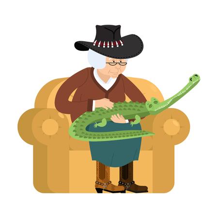 Grossmutter Ist Jagerin Fur Krokodile Oma Sitzt Auf Grosser