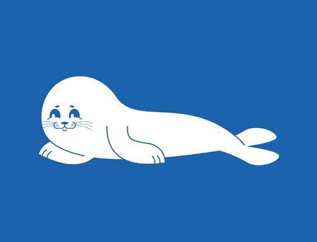 Otarie à fourrure blanche isolée. petit veau de mer. Animal de l'Arctique et de l'Antarctique. Banque d'images - 80189828