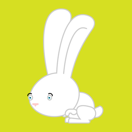 little one: White Rabbit isolated. cute Hare bunny Animal. Illustration