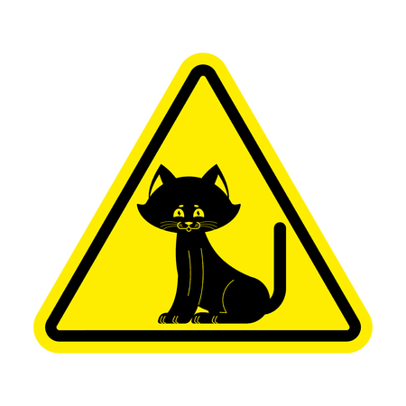 Attention cat. Caution pet. Yellow triangle road sign. Illustration