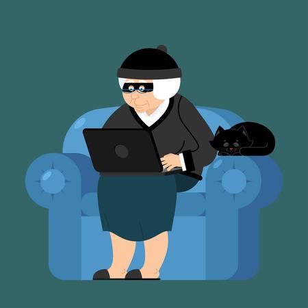 Babcia haker siedzi na fotelu z laptopa i kota. babcia jest programistą złodziejem. bezpieczeństwo komputerowe. Stara kobieta i komputer.