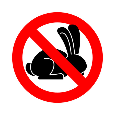 Stop rabbit. ban bunny hare is forbidden. Red prohibitory road sign
