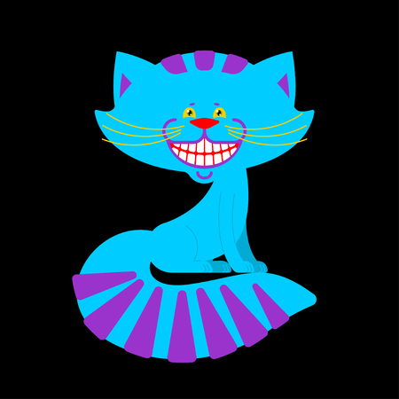 Cheshire cat smile isolated. Fantastic pet alice in wonderland. Magic animal Ilustrace