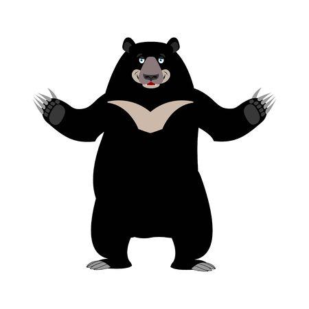 Himalayan bear happy emotion. Merry wild animal emoji. Black big beast