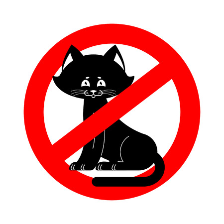 No cats allowed ban pet is forbidden. Red prohibitory road sign Illustration