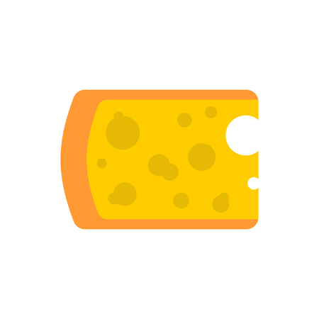 Cheese piece isolated. Yellow dairy product on white background Illustration