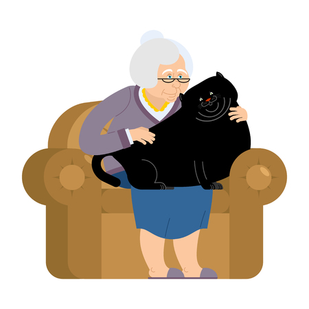 Grandmother and fat cat sitting on chair. granny cat lady. grandma and big pet. old woman and large animal. gammer and Beast