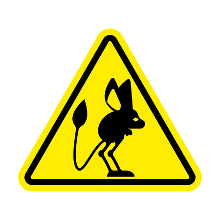 yellow beware: Attention Jerboa. Caution Steppe animal. Yellow triangle road sign
