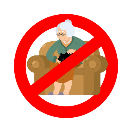 banned: Stop grandmother. Ban old woman and cat. Red prohibitory road sign