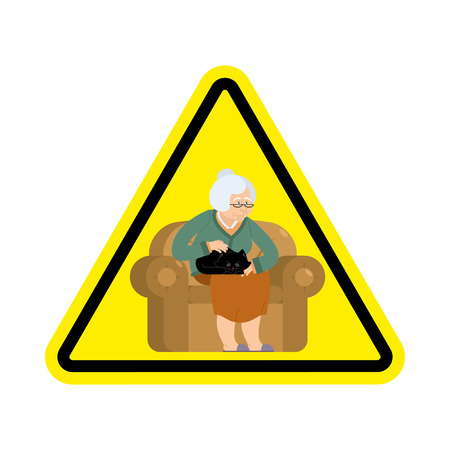 hazard: Attention grandmother. Caution old woman and cat. Yellow triangle road sign