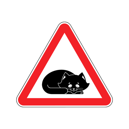 roadsign: Attention Sleeping cat. Caution pet. Red triangle road sign